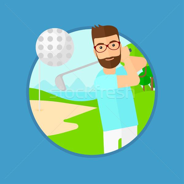 Golfista pelota barba profesional campo de golf Foto stock © RAStudio