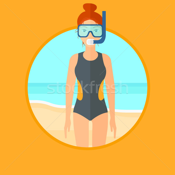 Female scuba diver on the beach. Stock photo © RAStudio