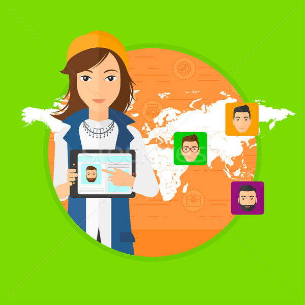 Stok fotoğraf: Kadın · tablet · sosyal · ağ · profil