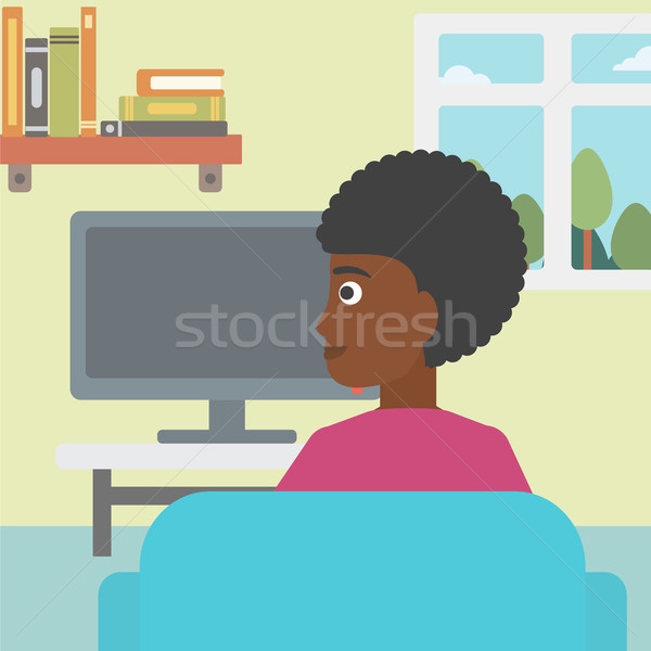 Kadın izlerken tv oturma kanepe oturma odası Stok fotoğraf © RAStudio
