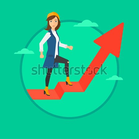 Woman standing on uprising chart. Stock photo © RAStudio