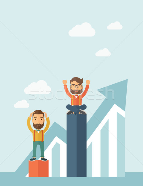 Two businessmen with one happy and the other sad. Stock photo © RAStudio