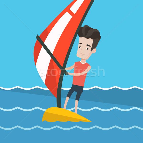 Fiatalember windszörf tenger férfi fényes nyár Stock fotó © RAStudio