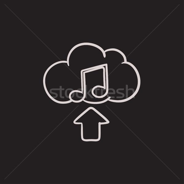 アップロード 音楽 スケッチ アイコン ベクトル 孤立した ストックフォト © RAStudio