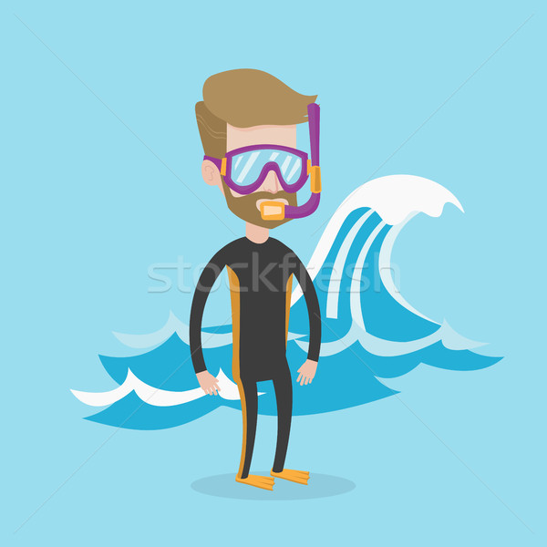 Young scuba diver vector illustration. Stock photo © RAStudio