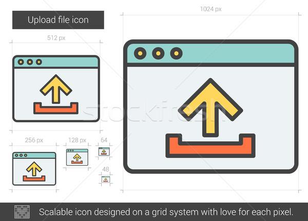 Feltöltés akta vonal ikon vektor izolált Stock fotó © RAStudio