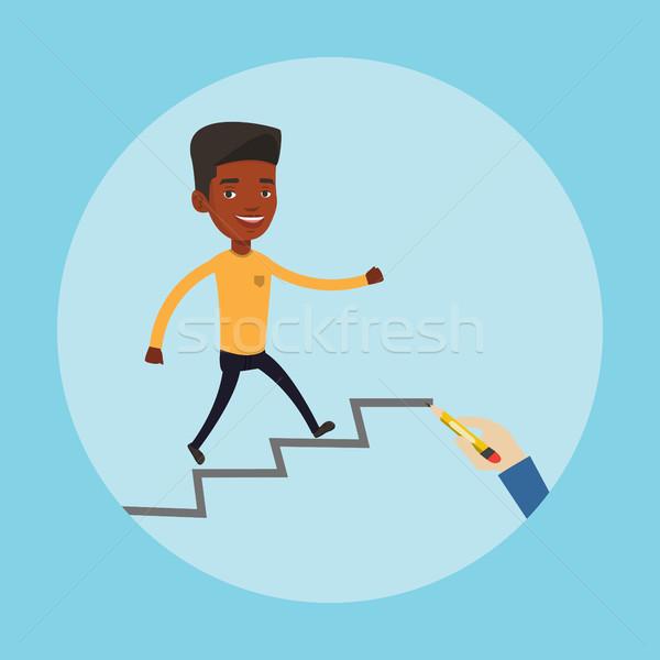Businessman running up the career ladder. Stock photo © RAStudio