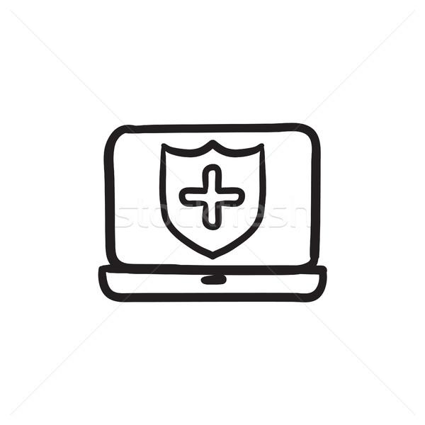 Photo stock: Ordinateur · sécurité · croquis · icône · vecteur · isolé