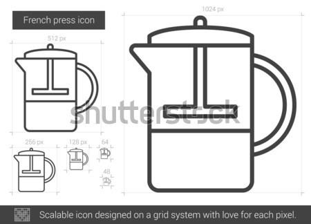 Francés prensa línea icono vector aislado Foto stock © RAStudio