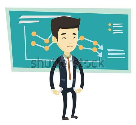 Becsődölt üzletember hangsúlyos ázsiai áll diagram Stock fotó © RAStudio