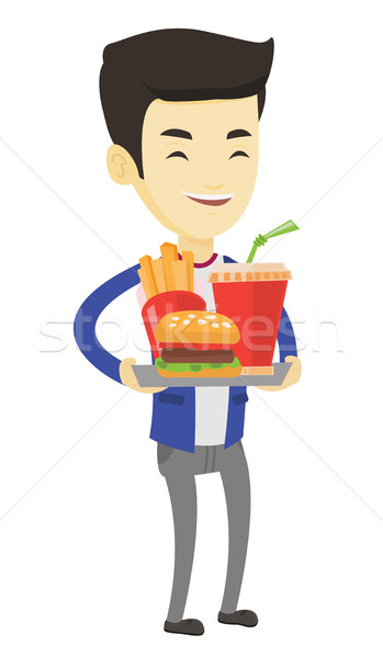 Man dienblad vol fast food asian Stockfoto © RAStudio