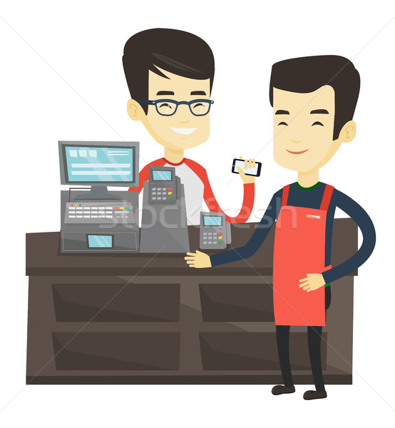 Customer paying wireless with smartphone. Stock photo © RAStudio