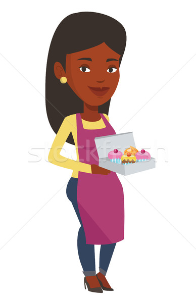 Baker delivering cakes vector illustration. Stock photo © RAStudio