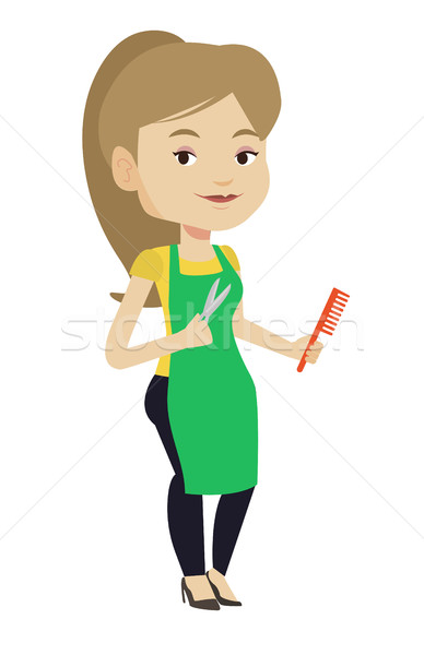 Hairstylist holding comb and scissors in hands. Stock photo © RAStudio