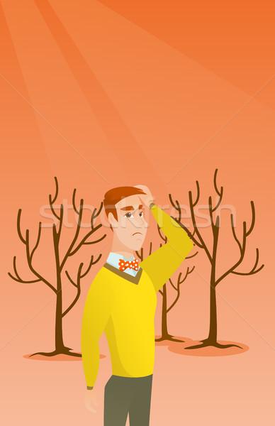 森林 破壊された 火災 地球温暖化 白人 男 ストックフォト © RAStudio