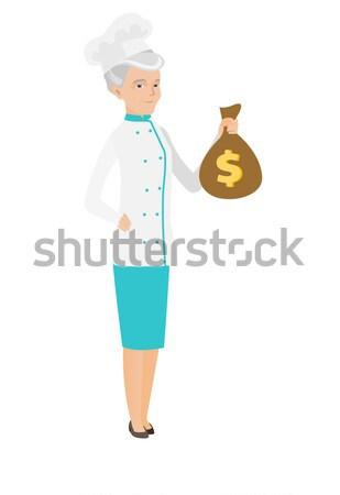 Kaukázusi szakács szakács tart pénz táska Stock fotó © RAStudio