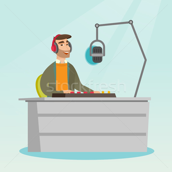 Dj working on the radio vector illustration Stock photo © RAStudio