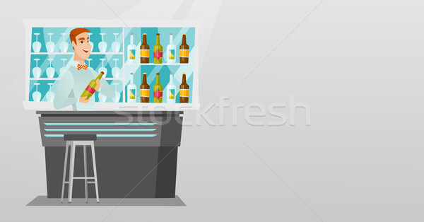 Bartender standing at the bar counter. Stock photo © RAStudio