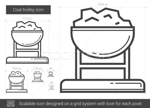 Stock photo: Coal trolley line icon.