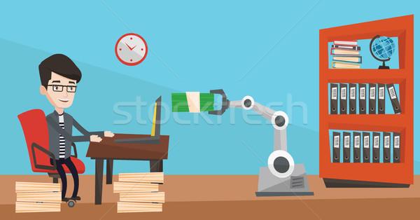 Ingénieur programmation robotique main portable Photo stock © RAStudio