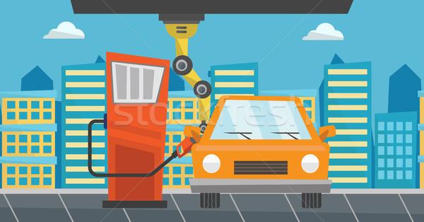 Robot tömés felfelé üzemanyag autó benzinkút Stock fotó © RAStudio