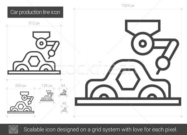 Zdjęcia stock: Samochodu · produkcji · line · ikona · wektora · odizolowany