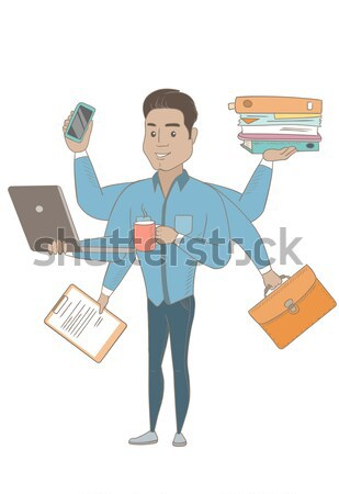 Caucasian businessman coping with multitasking. Stock photo © RAStudio