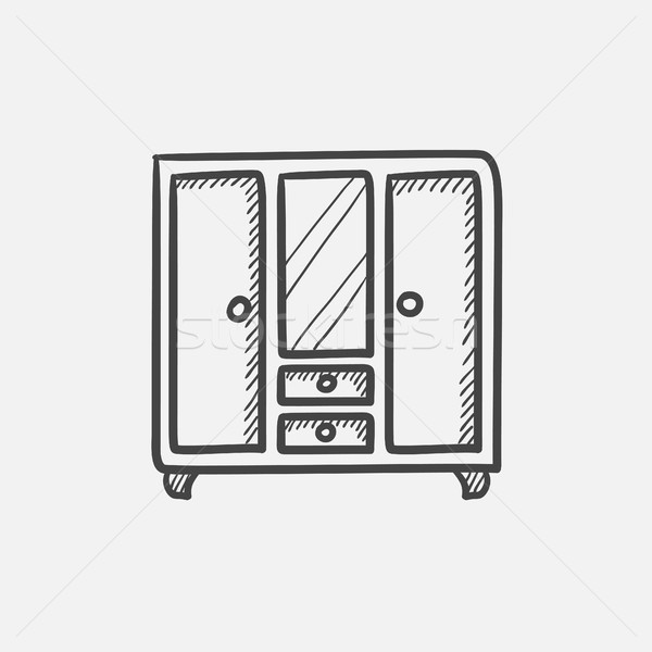 Wardrobe with mirror sketch icon. Stock photo © RAStudio