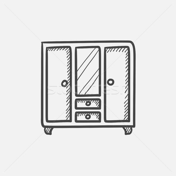 Armoire miroir croquis icône web mobiles Photo stock © RAStudio