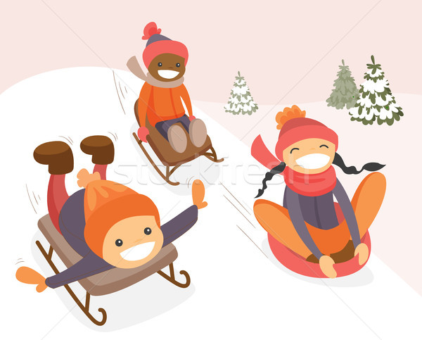 Group of multicultural kids enjoying a sleigh ride Stock photo © RAStudio