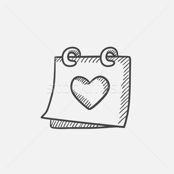 Calendar with heart sketch icon. Stock photo © RAStudio