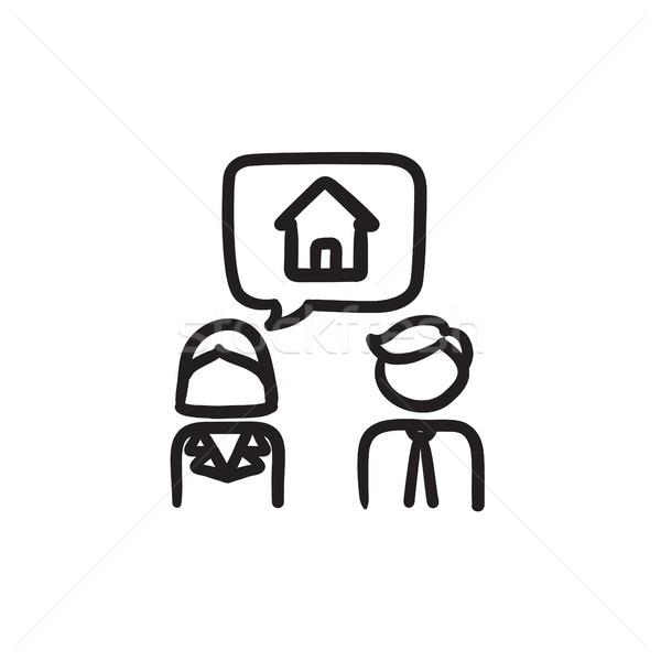 Pár álmodik ház rajz ikon vektor Stock fotó © RAStudio