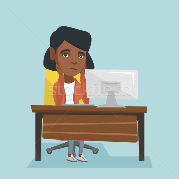 Kimerült afrikai alkalmazott dolgozik iroda ül Stock fotó © RAStudio
