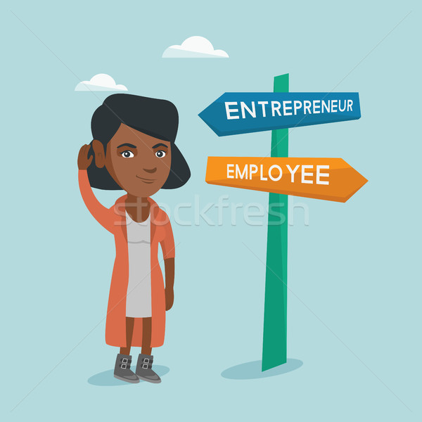 Confused african woman choosing career pathway. Stock photo © RAStudio