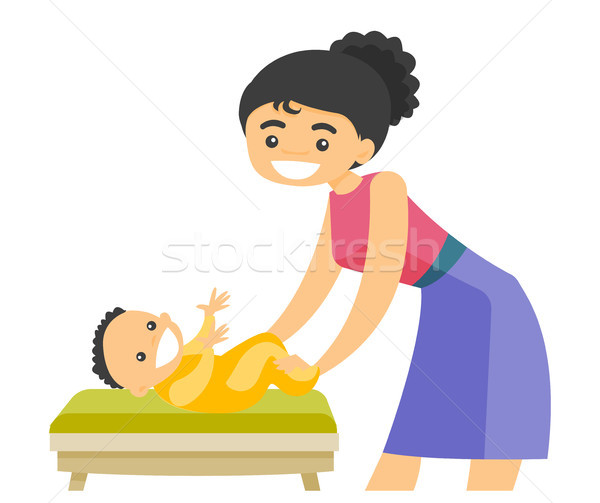 Young caucasian white mother taking care of baby. Stock photo © RAStudio