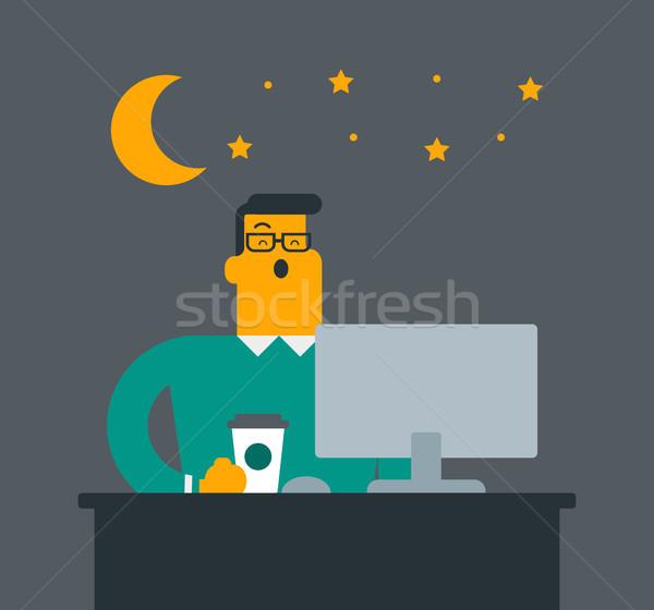 Jovem caucasiano branco cansado trabalhador de escritório Foto stock © RAStudio