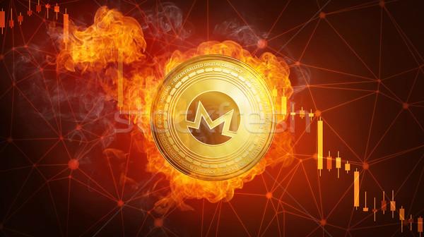 Golden Monero coin falling in fire flame. Stock photo © RAStudio