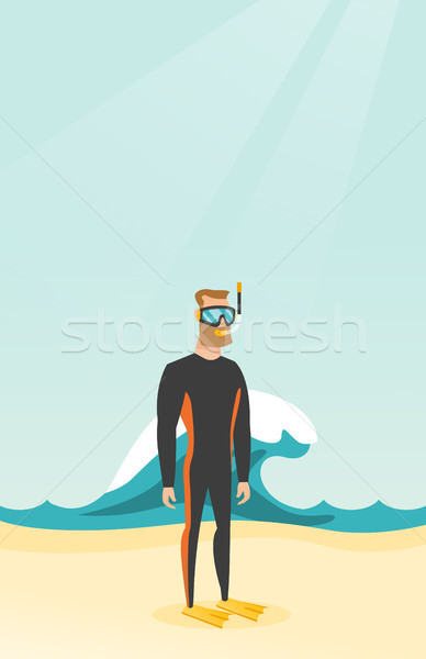 Jonge kaukasisch duiken pak witte Stockfoto © RAStudio