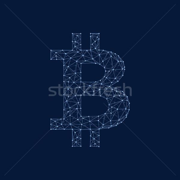 Bitcoin coin in polygon blockchain technology network style. Stock photo © RAStudio
