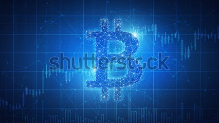 Bitcoin coin blockchain technology futuristic hud banner. Stock photo © RAStudio