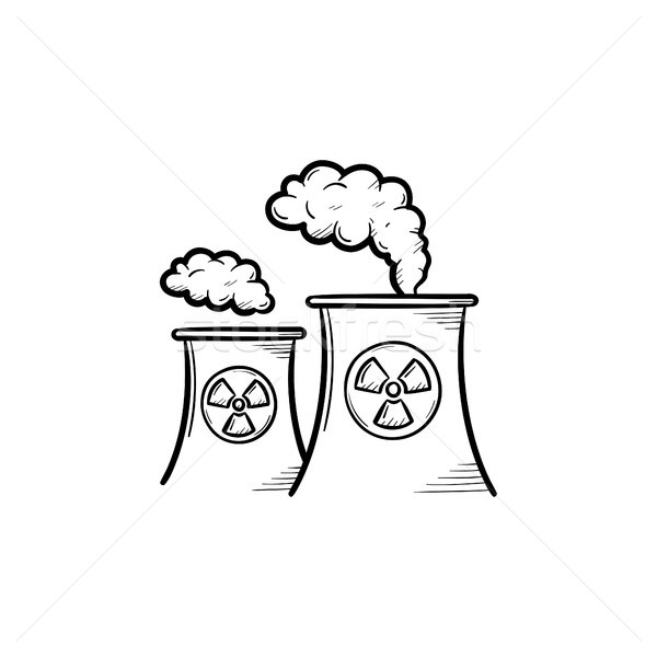 Nuclear power plant hand drawn sketch icon. Stock photo © RAStudio