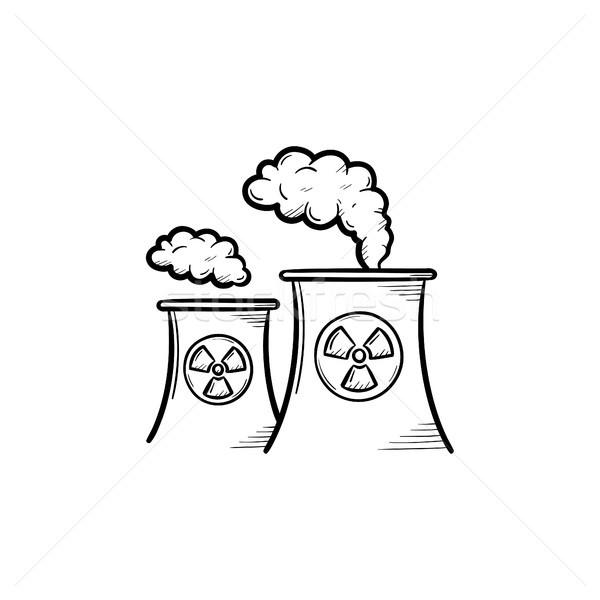Jądrowej elektrownia szkic ikona dymu Zdjęcia stock © RAStudio