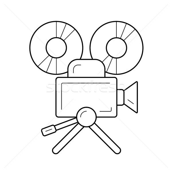 Stockfoto: Videocamera · lijn · icon · vector · geïsoleerd · witte