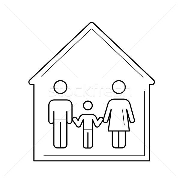 Family house vector line icon. Stock photo © RAStudio