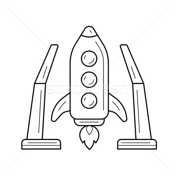 Statek kosmiczny line ikona przestrzeni wektora Zdjęcia stock © RAStudio