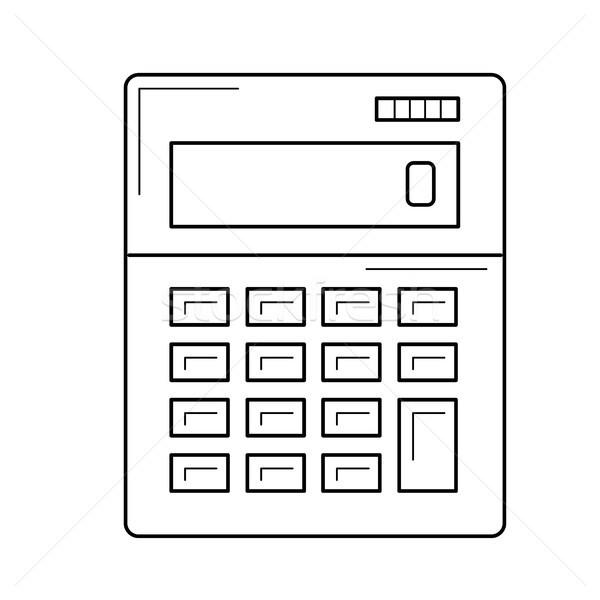 Stock fotó: Számológép · vektor · vonal · ikon · izolált · fehér