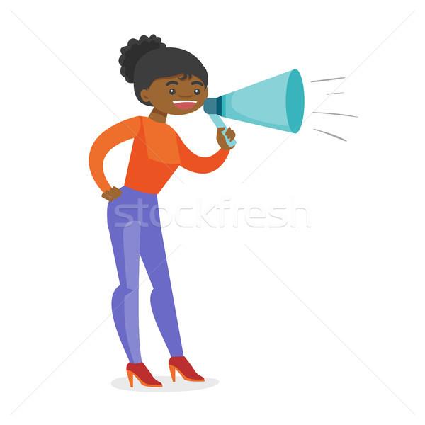 Jovem alto-falante megafone publicidade mulher de negócios Foto stock © RAStudio