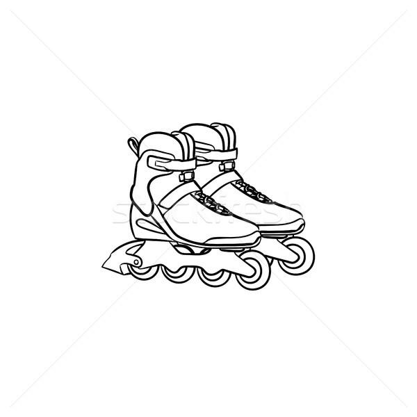 Roller shoes hand drawn sketch icon. Stock photo © RAStudio