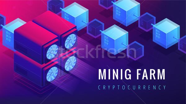 Isometric mining farm landing page concept. Stock photo © RAStudio