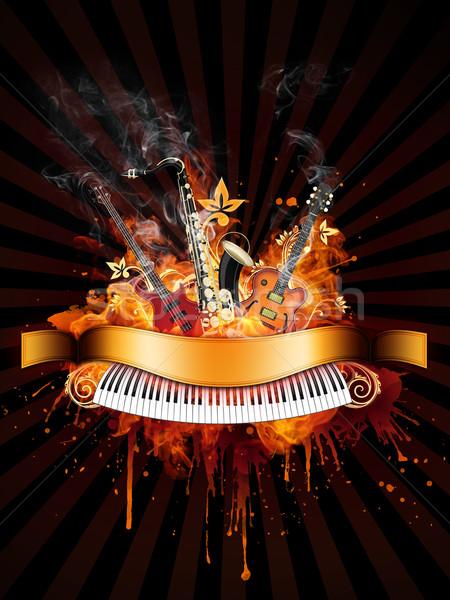 вечеринка плакат бас саксофон фортепиано огня Сток-фото © RAStudio